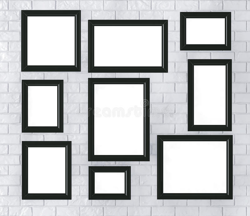 Black Picture Frames on a Brick Wall vector illustration