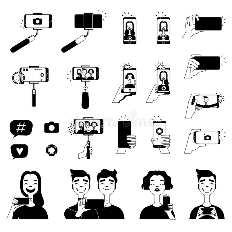 Black pictures of people making selfie and various tools for self photo royalty free illustration