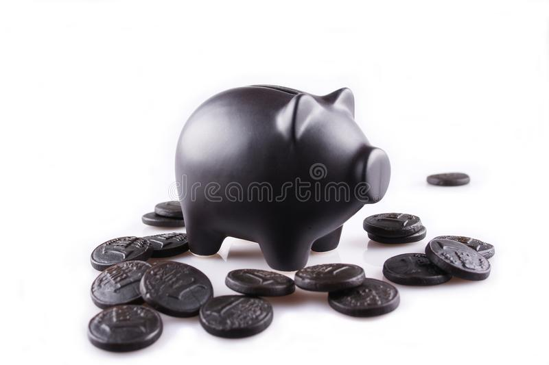 Download Black Piggy Bank With Black Money Stock Image - Image of account, bank: 27046811