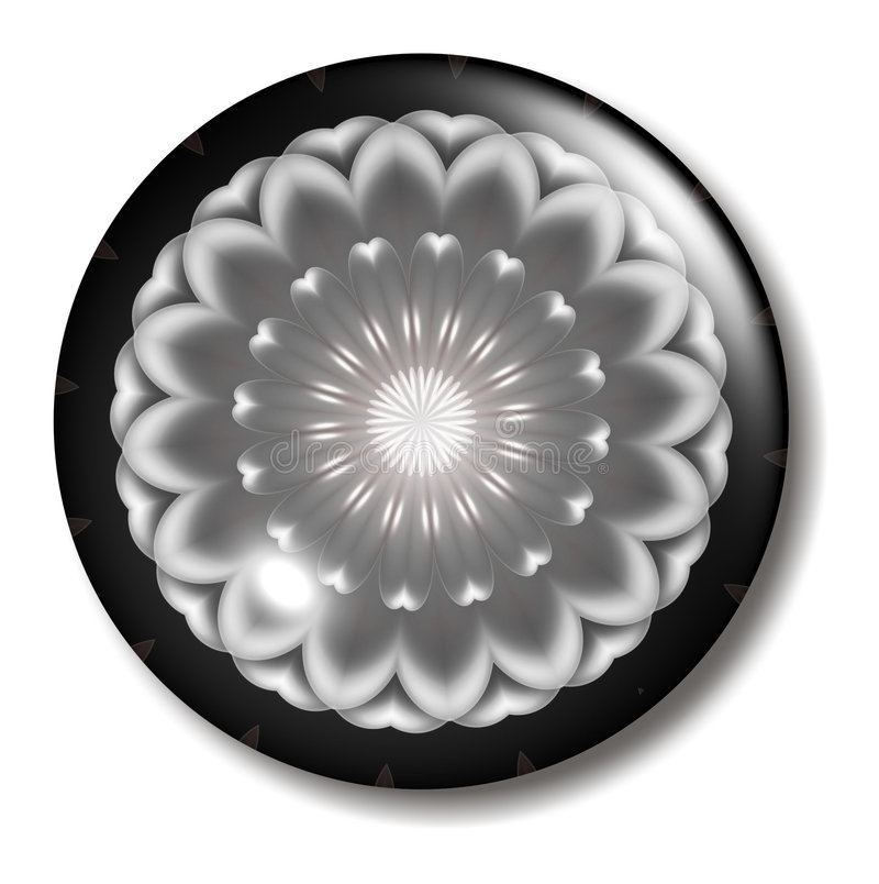 Black Pink Flower Button Orb. An illustration of a pink white and black circular button orb with shadow for use in website design, presentation, desktop vector illustration