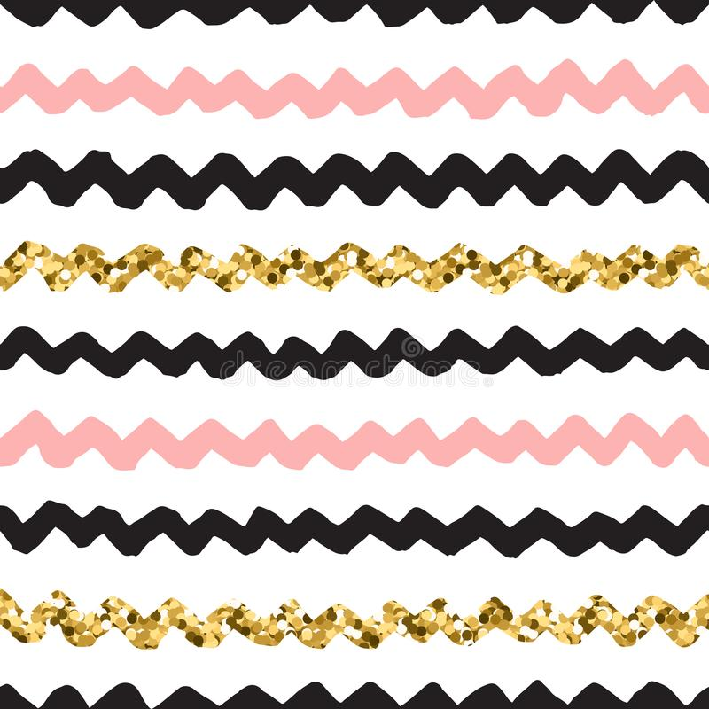 Black, pink and gold hand drawn doodle vector zigzag pattern. Black ink, white, pink and gold glitter hand drawn doodle vector seamless zigzag pattern stock illustration