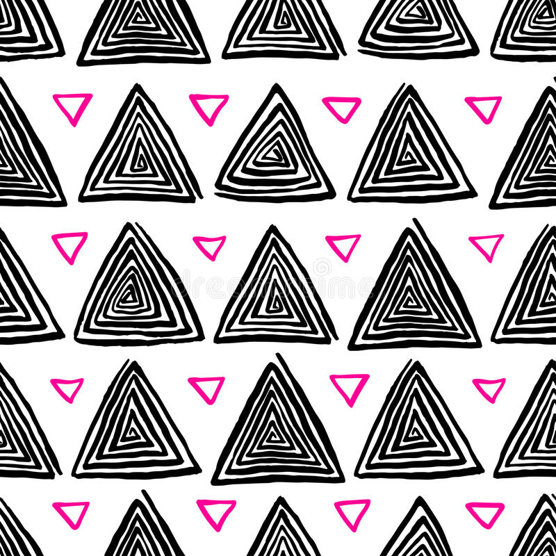 Black and pink hand-drawn triangle. Abstract seamless pattern of black and pink triangle hand-drawn spirals stock illustration