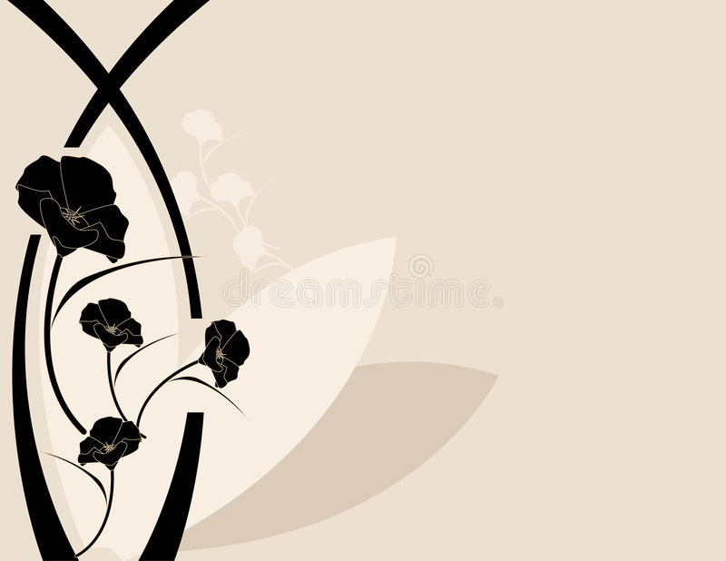 Black pink poppy background vector illustration