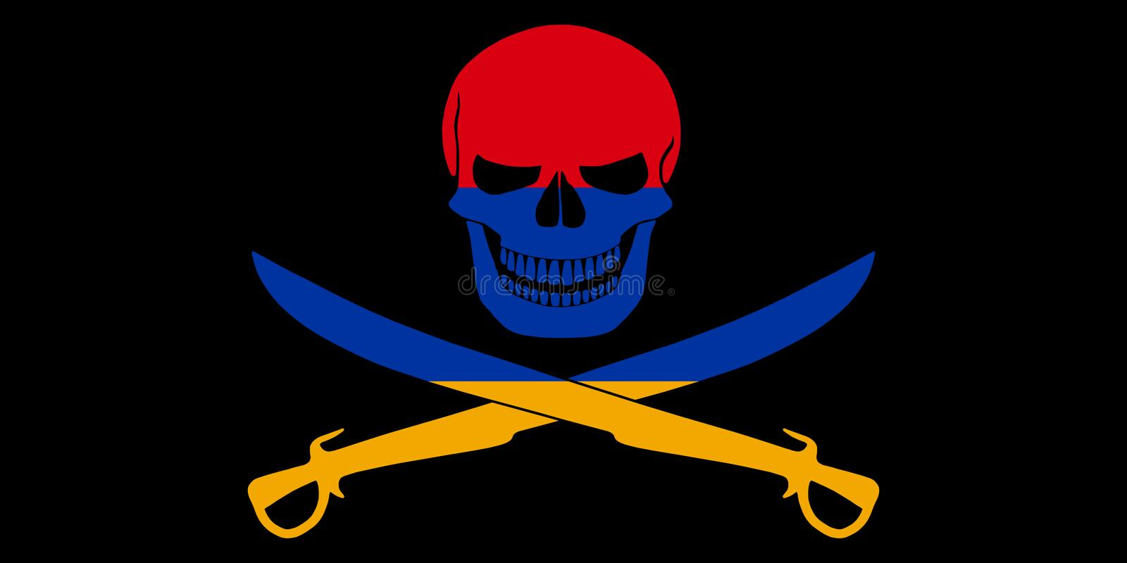 Pirate flag combined with Armenian flag. Black pirate flag with the image of Jolly Roger with cutlasses combined with colors of the Armenian flag stock illustration
