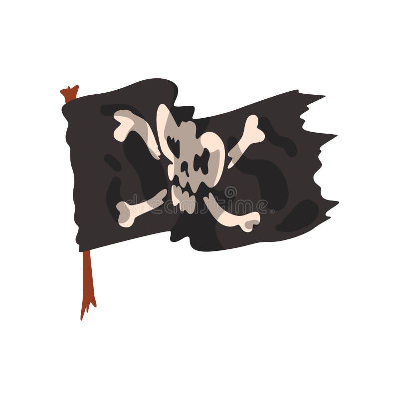 Black pirate flag with skull and bones vector Illustration on a white background stock illustration