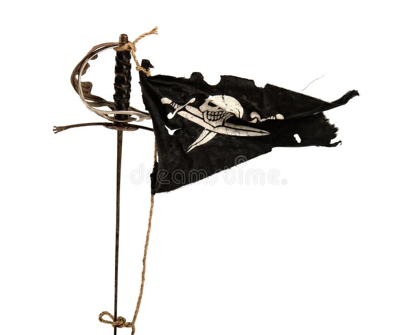 Waving pirate flag stock images