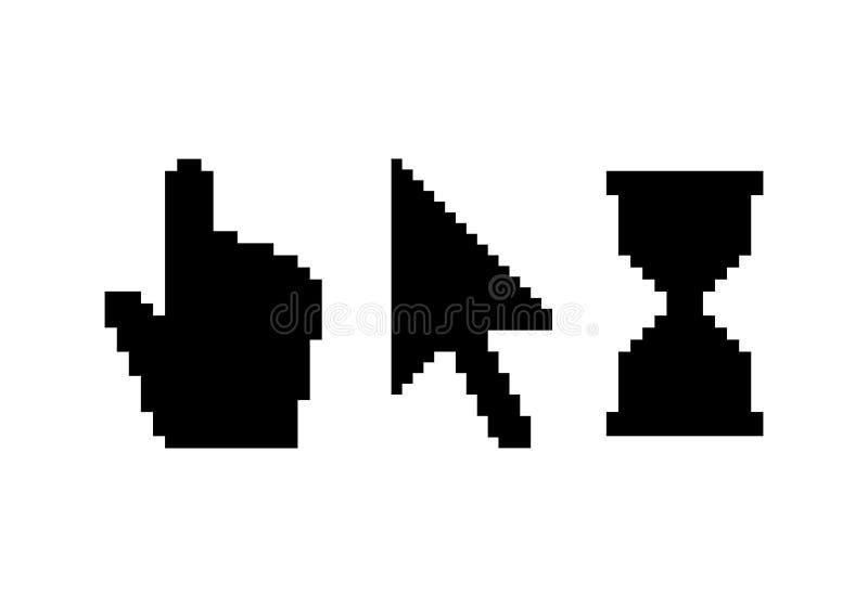 Black pixel cursors set vector illustration