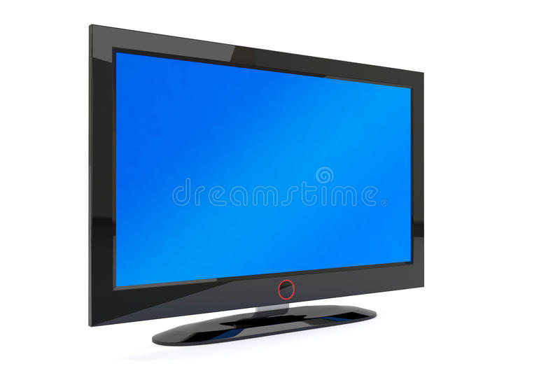 Black plasma tv. A black generic plasma tv on white background stock illustration
