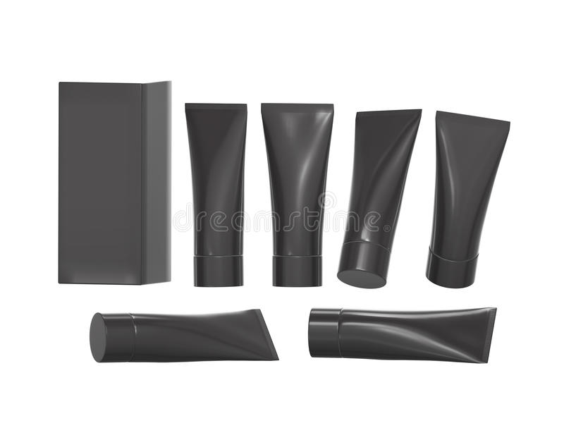 Black plastic beauty hygiene tube with clipping path royalty free illustration