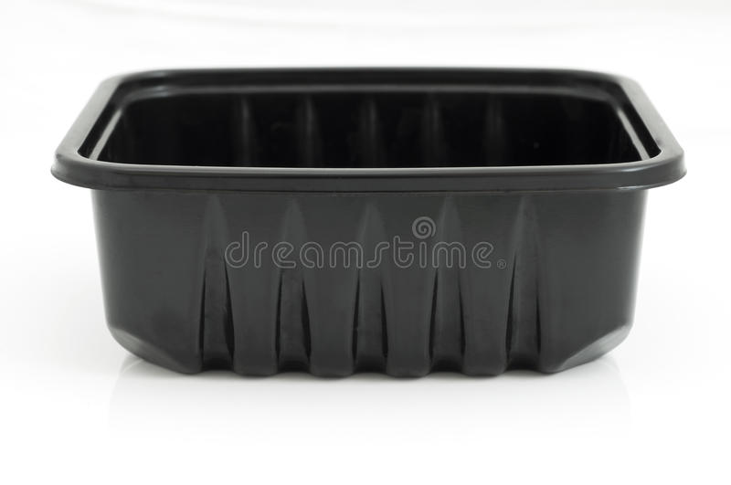 Black plastic container stock image