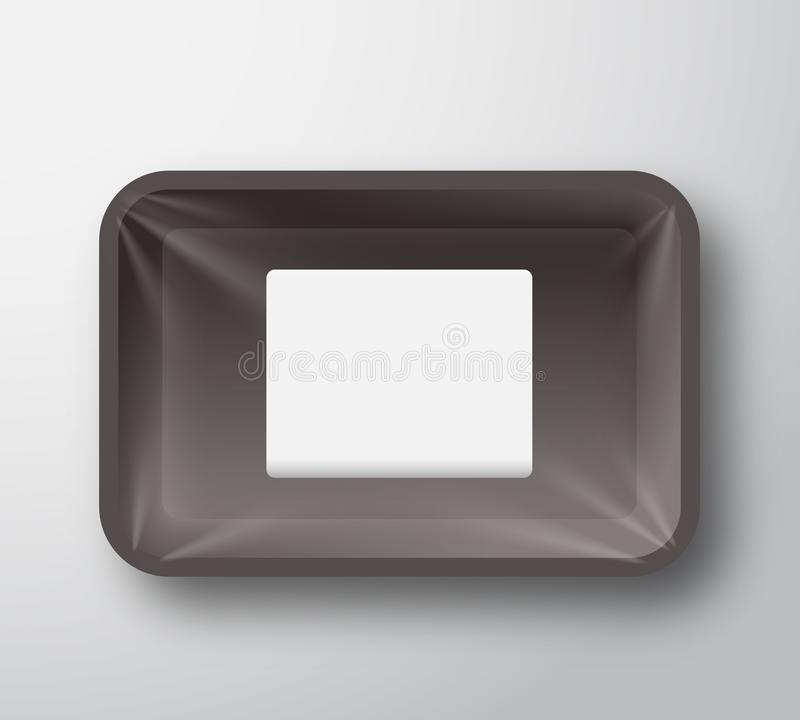 Free Black Plastic Empty Food Tray Container With Transparent Cellophane Cover And Clear White Rectangle Sticker Label Royalty Free Stock Image - 113726286