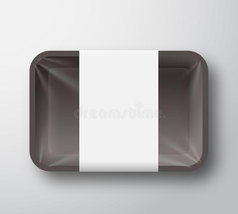 Black Plastic Food Tray Container with Transparent Cellophane Cover and Clear White Label Template. Realistic Packaging vector illustration