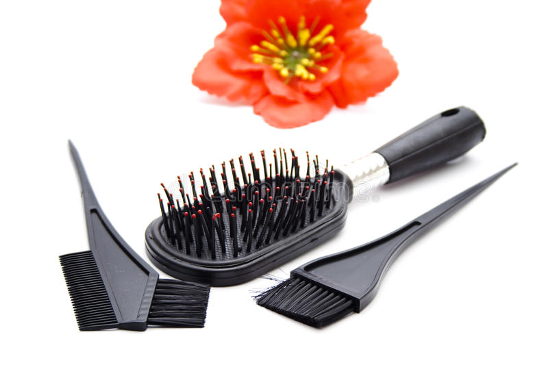 Black Plastic Hairbrush with Coloring Brush royalty free stock images