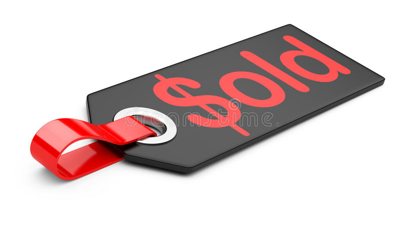 Black Plastic Label Sold Royalty Free Stock Images