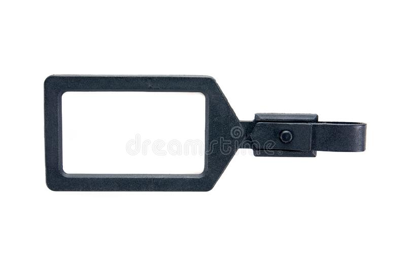 Black plastic luggage tag label isolated on white background royalty free stock photo