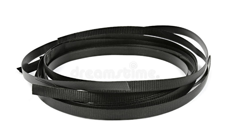 Black plastic strapping isolated on white stock photo