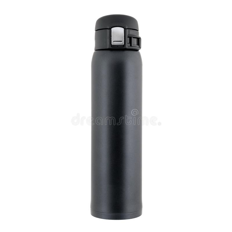 Black closed plastic thermos stands isolated on white. Black plastic thermos with closed lid stands on a white background royalty free stock images