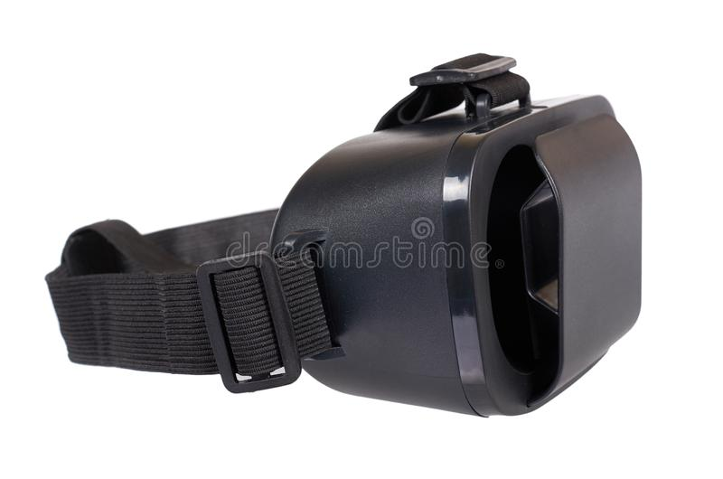 Black plastic VR headset, Virtual Reality mask stock photo