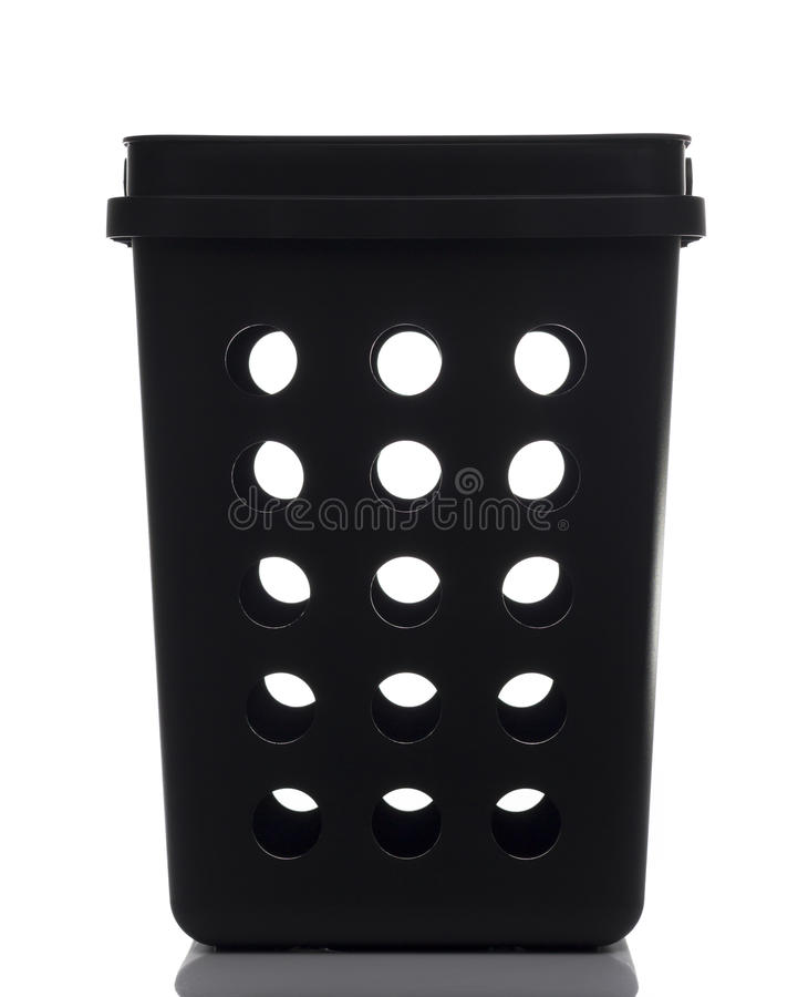 Black Plastic Waste Bin. In White background royalty free stock images