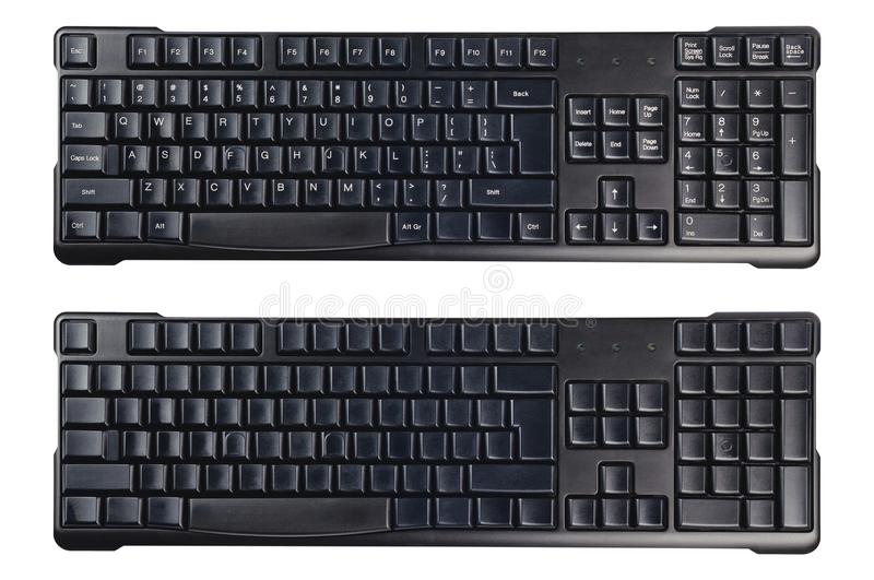 Black plastic wireless computer keyboards with symbols and without isolated on white background. Top view stock images