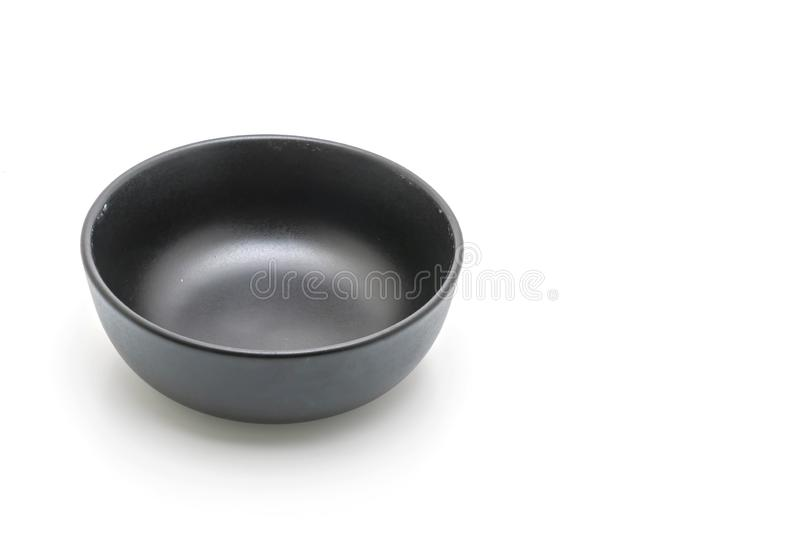 Black plate and bowl isolated on white background. Empty black plate and bowl isolated on white background stock photos