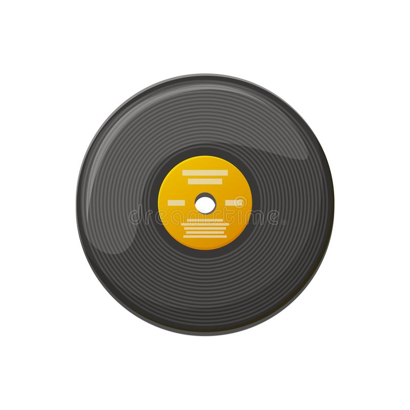 Black Plate for Playing Music, Vinyl Record Vector. Plate for playing music on gramophone, scratching disk, old-fashioned circle object for turntable soundtrack royalty free illustration