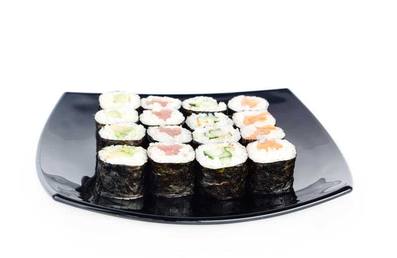 Download Black plate of sushi stock photo. Image of shot, white - 26193686