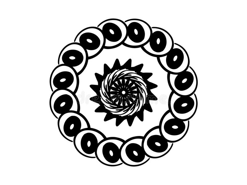 Black playful mandala on white background. Mandala with move illusion vector. Round stamp template. stock illustration