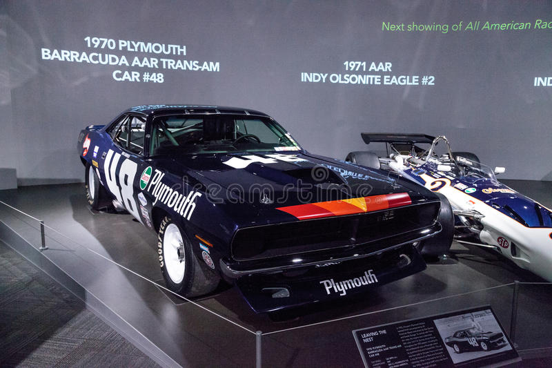 Black 1970 Plymouth Barracuda AAR Trans-Am. Los Angeles, CA, USA — March 4, 2017: Black 1970 Plymouth Barracuda AAR Trans-Am car number 48 at the Petersen royalty free stock images