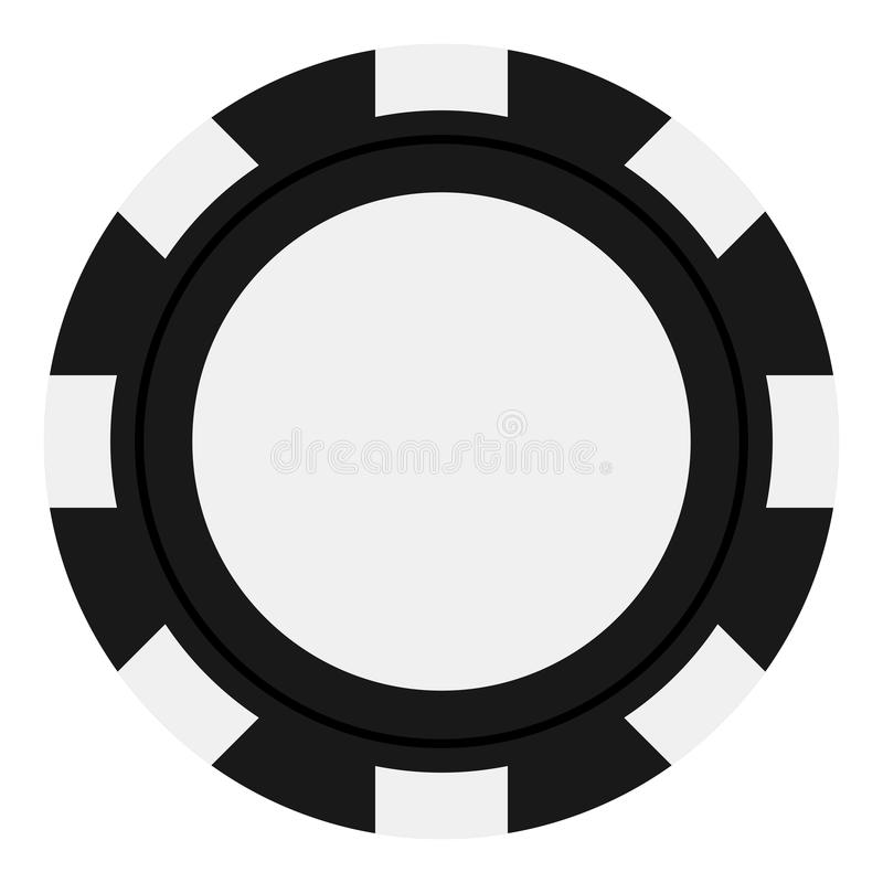 Black Poker Chip Flat Icon Isolated on White. Black poker chip flat icon, isolated on white background. Eps file available royalty free illustration