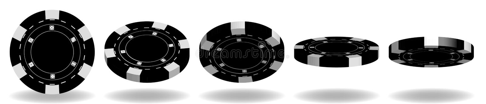 Black poker chips vector. 3D Realistic Set. Flip different angle. S. Plastic poker chips sign isolated on white background stock illustration