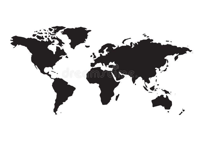 Black Political World Map Illustration. Is a general illustration stock illustration
