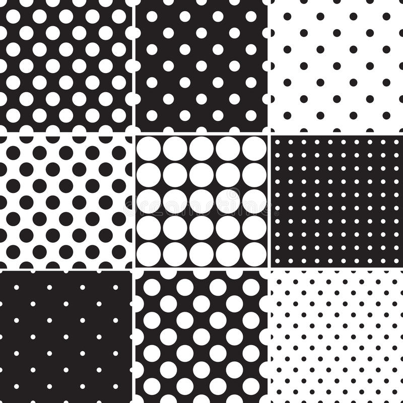 Black polka dot seamless patterns stock illustration