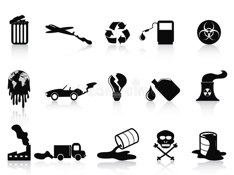 Black pollution icons set. Isolated black pollution icons set from white background vector illustration