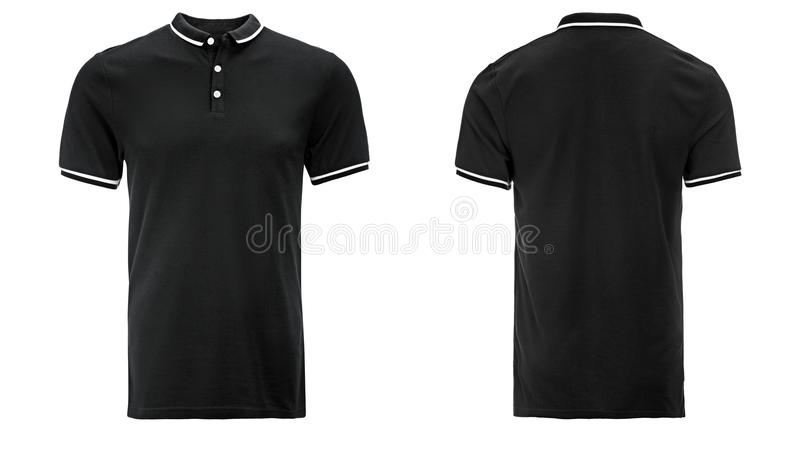 Black Polo shirt, clothes. On isolated white background royalty free stock image