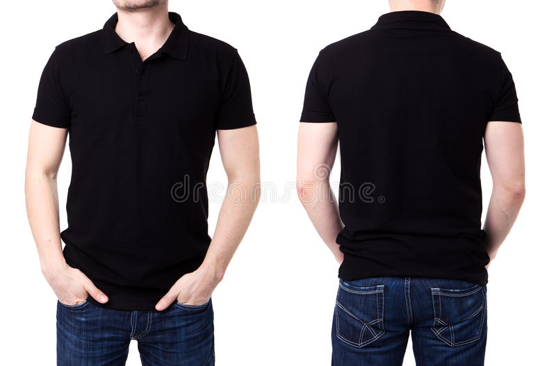 Black polo shirt on a young man template. On white background royalty free stock photos