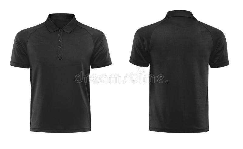 Black polo tshirt design template isolated on white background. Black polo t shirt design template isolated on white with clipping path stock photo