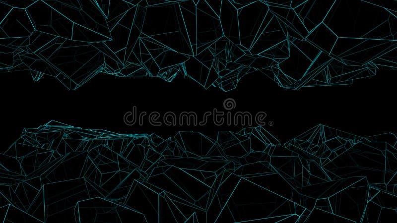 Black polygonal cavern 3d rendering. Abstract black polygonal cavern with blue lines 3d rendering stock illustration