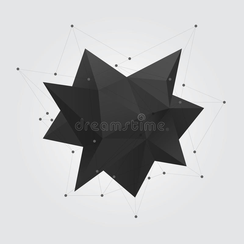 Black polygonal geometric abstract shape figure. Low poly abstract geometry shape 3d star. Black polygonal geometric abstract shape figure. Low poly abstract royalty free illustration