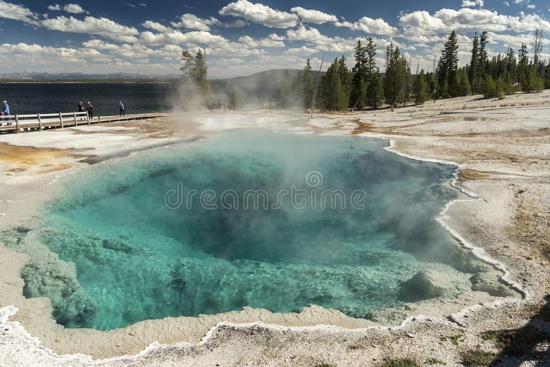 Black Pool West Thumb Geyser Basin Yellowstone National Park. This small, colorful geyser in Yellowstone National Park also features scenic lake views royalty free stock image