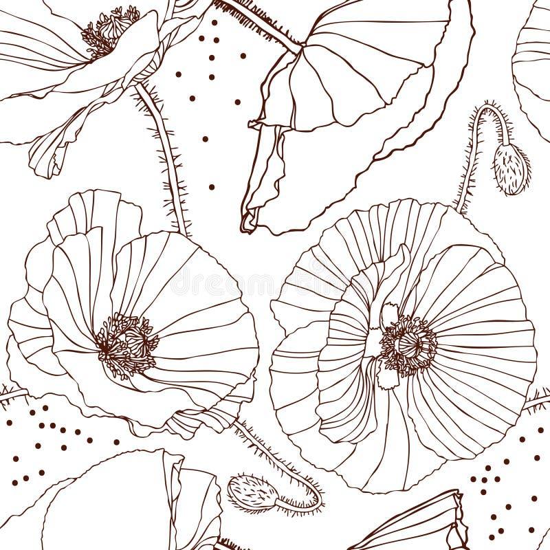 Black poppy pattern royalty free illustration