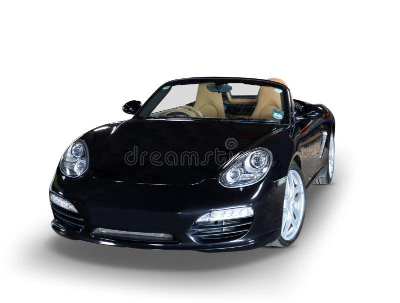 Black Porsche sports car. Luxury black convertible Porsche sports car on white background stock images