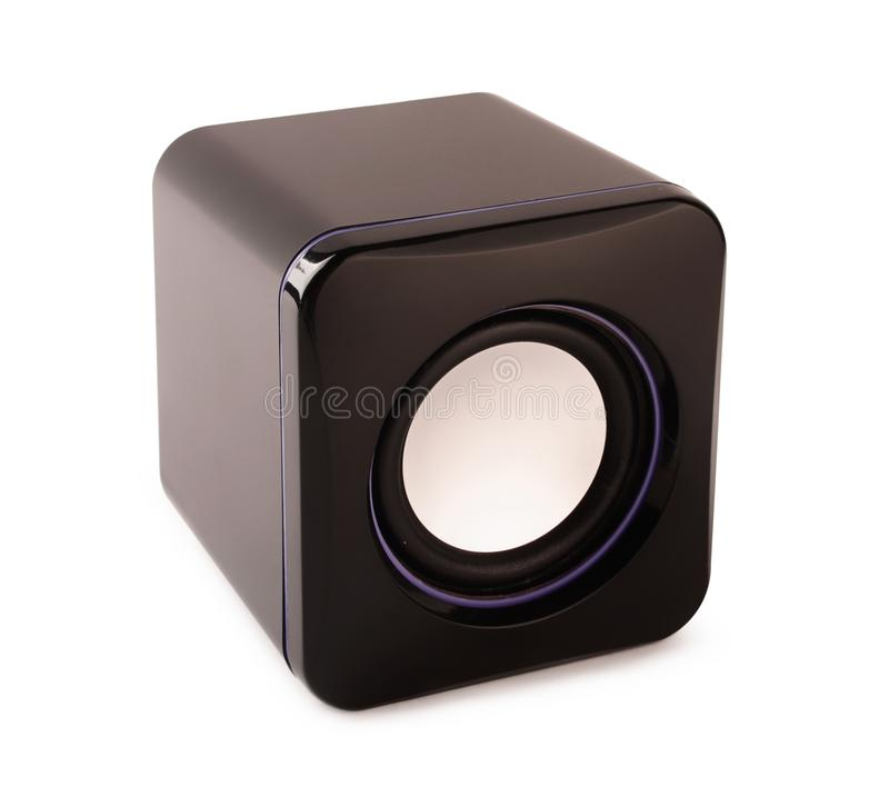 Black portable speaker. Isolated on a white background royalty free stock photo