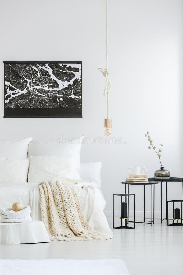 Download black poster in minimalist bedroom stock photo image of cozy modern 115051720