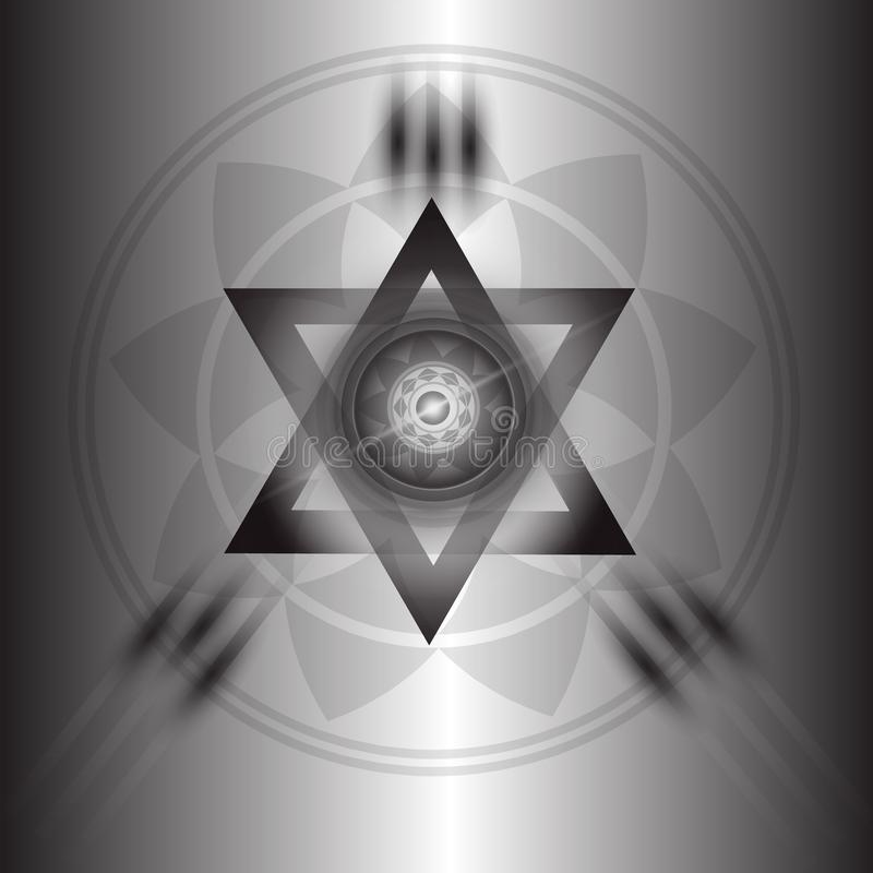 Black poster with pyramid and eye. Used as a general illustration royalty free illustration