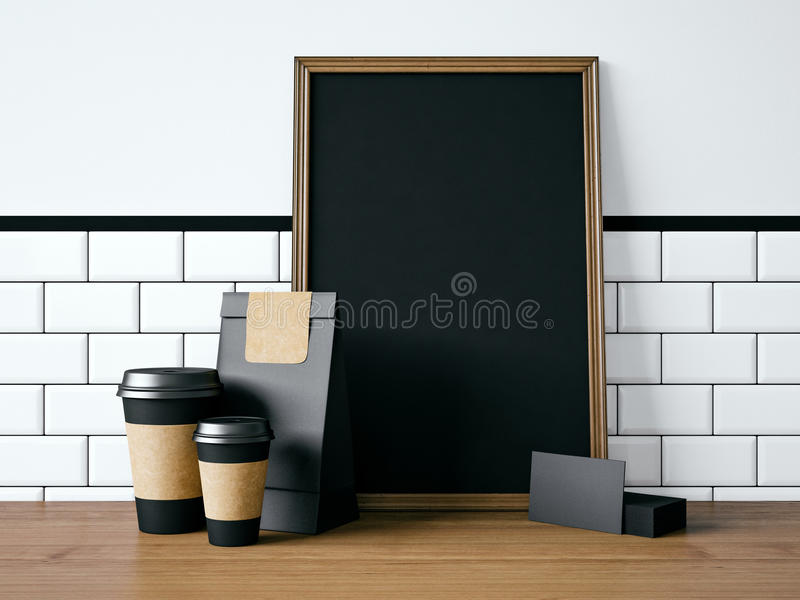 Black poster on table with blank elements. 3d stock images
