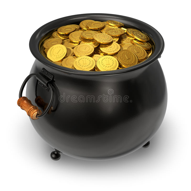Black pot full of gold coins royalty free illustration