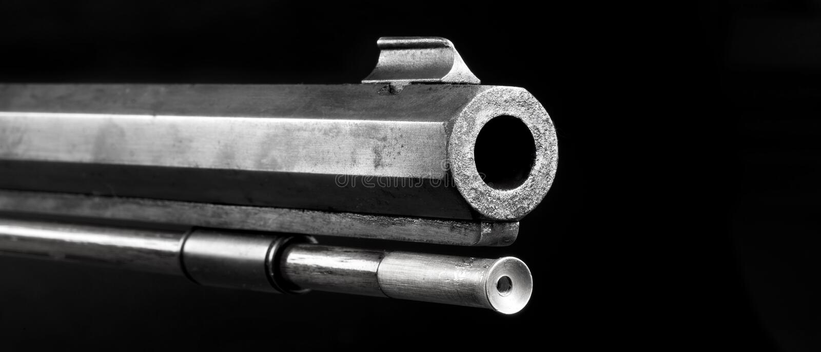 Black Powder Rifle Barrel. Front end of old 50 caliber black powder riflein black and white with room for your type royalty free stock images