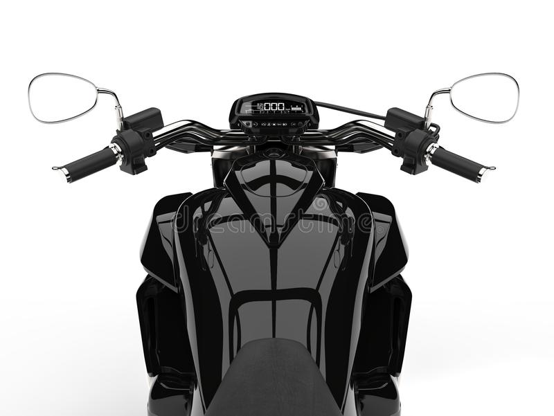Black powerful modern chopper bike - riders point of view shot. 3D Illustration stock illustration