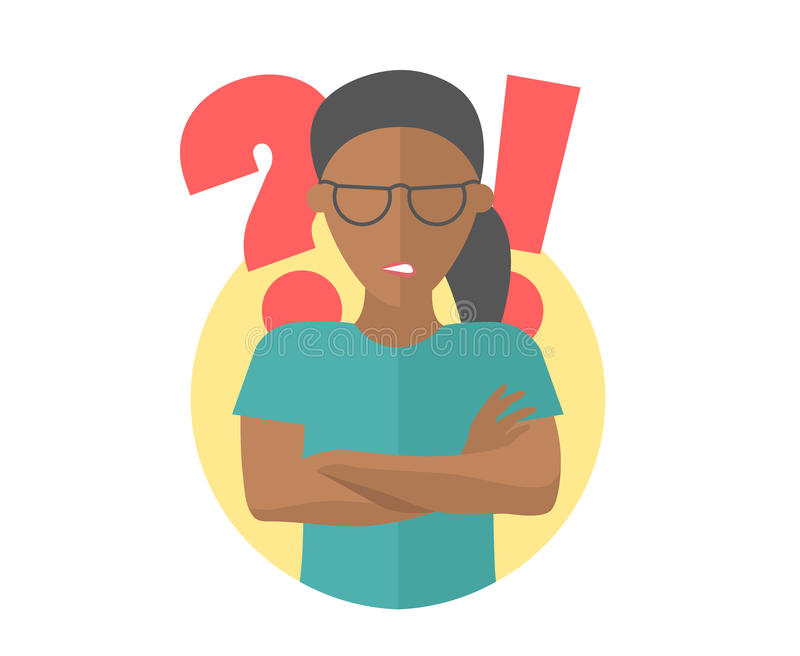 Black pretty girl in glasses angry doubts, offended. Flat design icon. Woman with a question and exclamation marks. Simply editabl royalty free illustration
